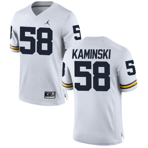 Men's Alex Kaminski Michigan Wolverines Replica White Brand Jordan Football Jersey