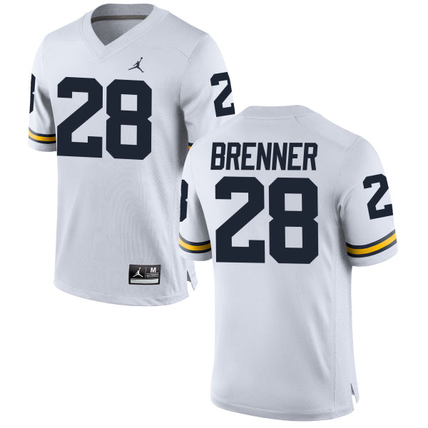 Men's Austin Brenner Michigan Wolverines Game White Brand Jordan Football Jersey