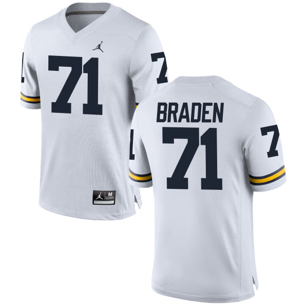 Men's Ben Braden Michigan Wolverines Replica White Brand Jordan Football Jersey