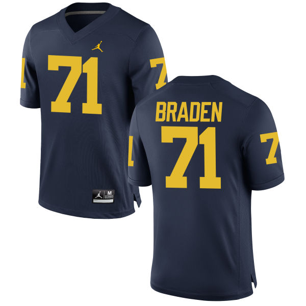 Men's Ben Braden Michigan Wolverines Game Navy Brand Jordan Football Jersey