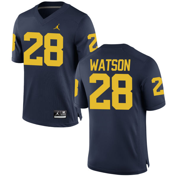 Men's Brandon Watson Michigan Wolverines Replica Navy Brand Jordan Football Jersey