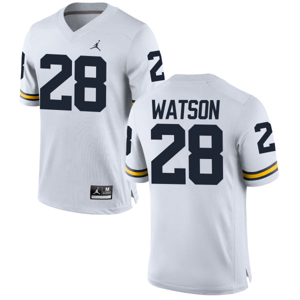 Men's Brandon Watson Michigan Wolverines Replica White Brand Jordan Football Jersey