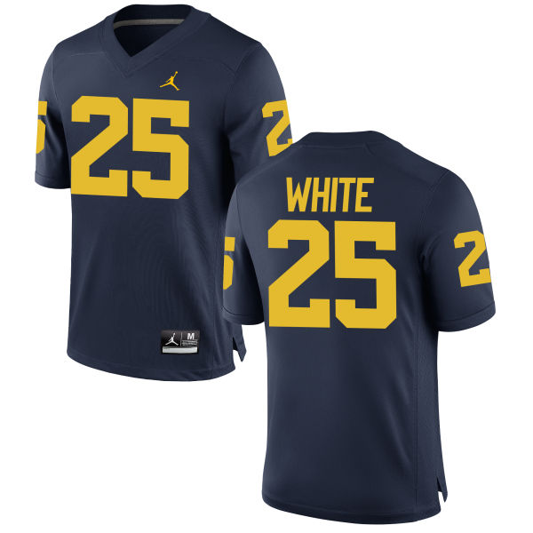 Men's Brendan White Michigan Wolverines Authentic White Brand Jordan Football Jersey Navy