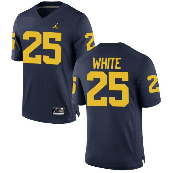 Women's Brendan White Michigan Wolverines Replica White Brand Jordan Football Jersey Navy