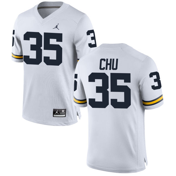 Men's Brian Chu Michigan Wolverines Replica White Brand Jordan Football Jersey