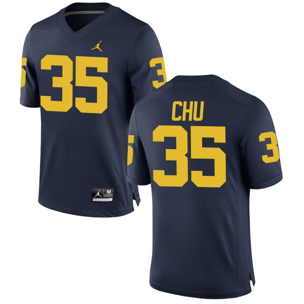 Men's Brian Chu Michigan Wolverines Game Navy Brand Jordan Football Jersey