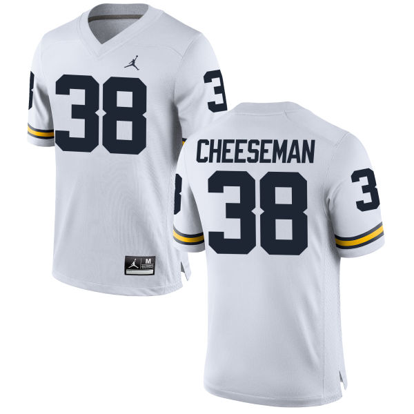 Men's Camaron Cheeseman Michigan Wolverines Replica White Brand Jordan Football Jersey