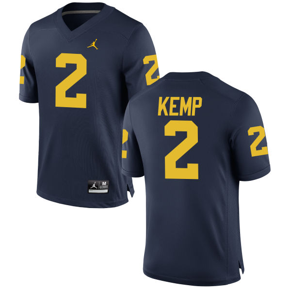 Men's Carlo Kemp Michigan Wolverines Replica Navy Brand Jordan Football Jersey