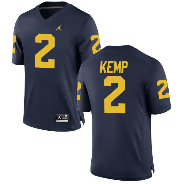 Men's Carlo Kemp Michigan Wolverines Game Navy Brand Jordan Football Jersey