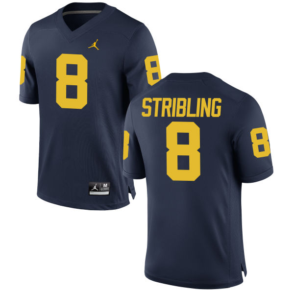 Men's Channing Stribling Michigan Wolverines Replica Navy Brand Jordan Football Jersey