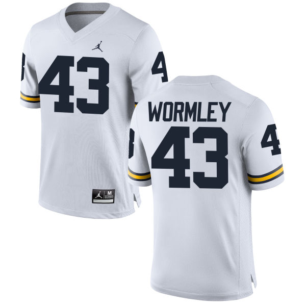Men's Chris Wormley Michigan Wolverines Replica White Brand Jordan Football Jersey