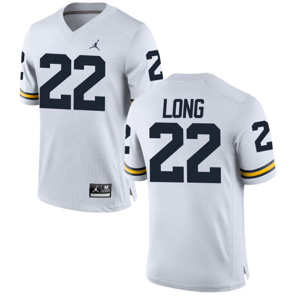Men's David Long Michigan Wolverines Replica White Brand Jordan Football Jersey