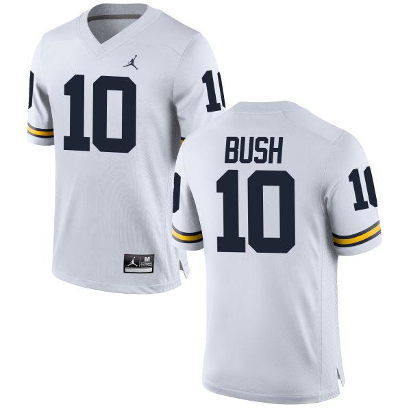 Women's Devin Bush Michigan Wolverines Replica White Brand Jordan Football Jersey