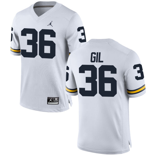 Men's Devin Gil Michigan Wolverines Replica White Brand Jordan Football Jersey