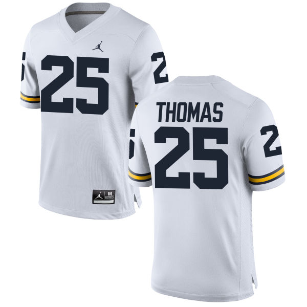 Men's Dymonte Thomas Michigan Wolverines Replica White Brand Jordan Football Jersey