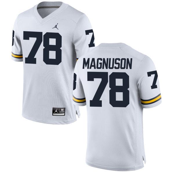 Men's Erik Magnuson Michigan Wolverines Game White Brand Jordan Football Jersey