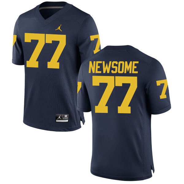 Men's Grant Newsome Michigan Wolverines Game Navy Brand Jordan Football Jersey