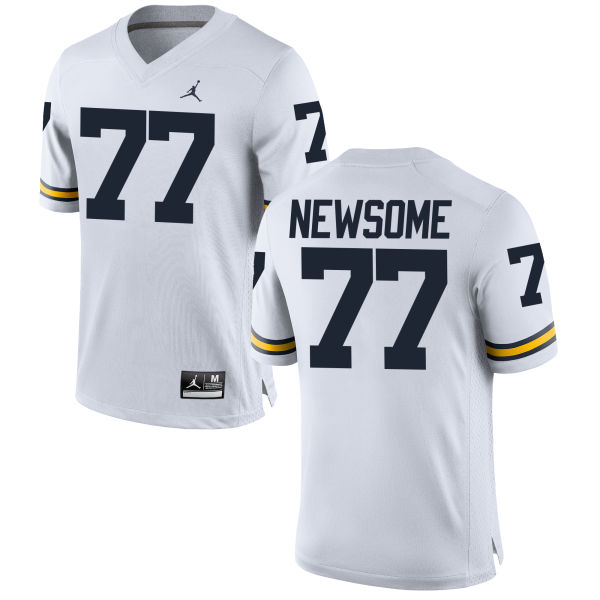 Men's Grant Newsome Michigan Wolverines Game White Brand Jordan Football Jersey