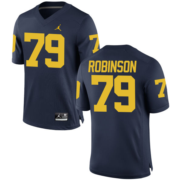 Men's Greg Robinson Michigan Wolverines Replica Navy Brand Jordan Football Jersey