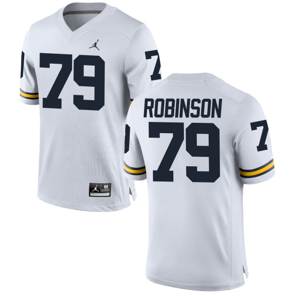 Men's Greg Robinson Michigan Wolverines Replica White Brand Jordan Football Jersey