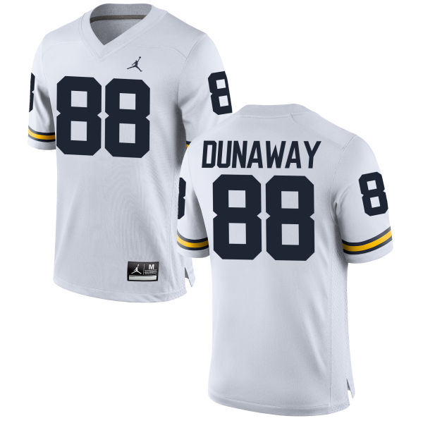 Men's Jack Dunaway Michigan Wolverines Replica White Brand Jordan Football Jersey