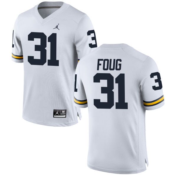 Men's James Foug Michigan Wolverines Game White Brand Jordan Football Jersey