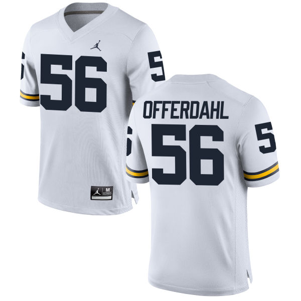 Men's Jameson Offerdahl Michigan Wolverines Replica White Brand Jordan Football Jersey