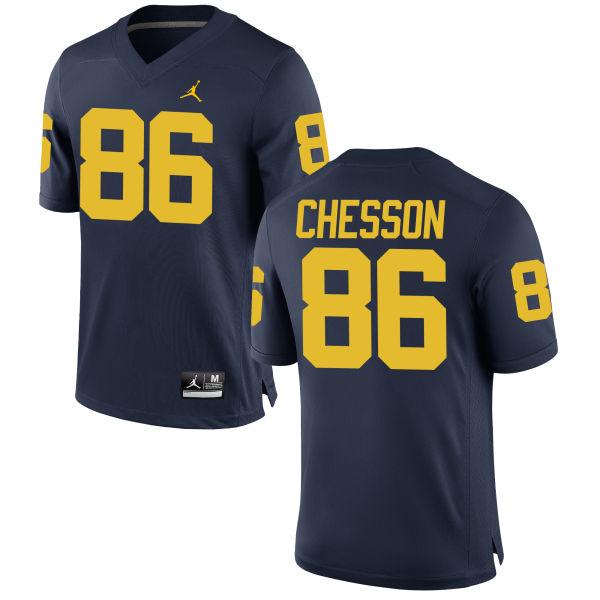 Men's Jehu Chesson Michigan Wolverines Replica Navy Brand Jordan Football Jersey