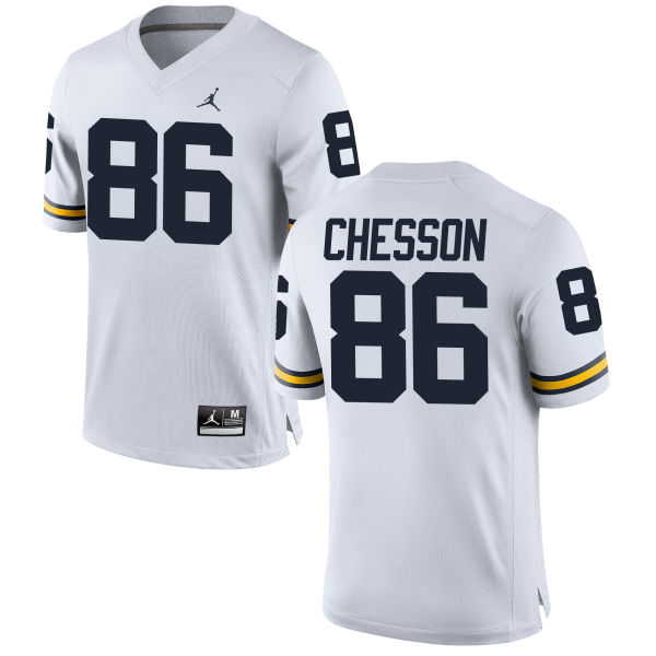 Women's Jehu Chesson Michigan Wolverines Replica White Brand Jordan Football Jersey