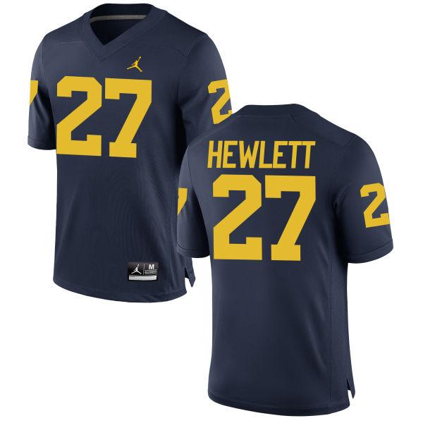 Youth Joe Hewlett Michigan Wolverines Replica Navy Brand Jordan Football Jersey