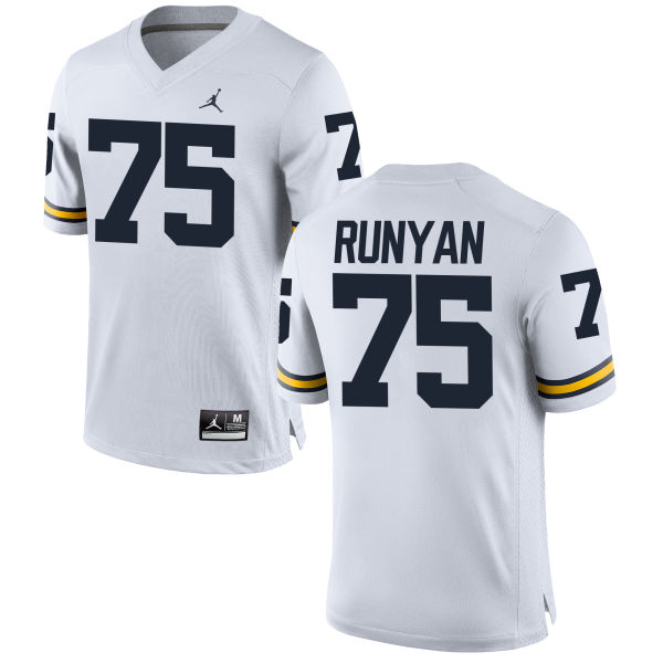 Men's Jon Runyan Michigan Wolverines Replica White Brand Jordan Football Jersey