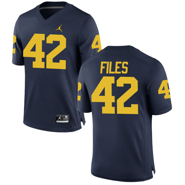 Men's Joseph Files Michigan Wolverines Authentic Navy Brand Jordan Football Jersey