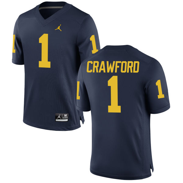 Men's Kekoa Crawford Michigan Wolverines Authentic Navy Brand Jordan Football Jersey