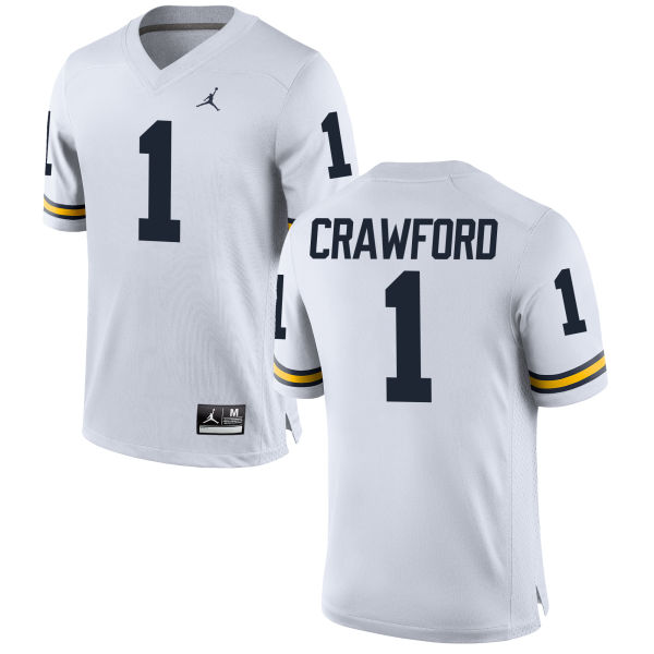 Men's Kekoa Crawford Michigan Wolverines Game White Brand Jordan Football Jersey