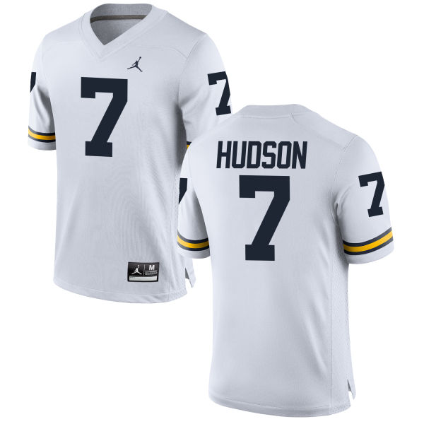 Men's Khaleke Hudson Michigan Wolverines Replica White Brand Jordan Football Jersey