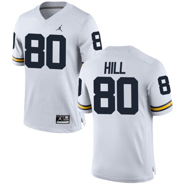 Men's Khalid Hill Michigan Wolverines Replica White Brand Jordan Football Jersey