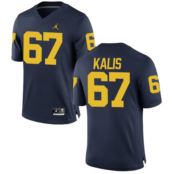 Men's Kyle Kalis Michigan Wolverines Game Navy Brand Jordan Football Jersey
