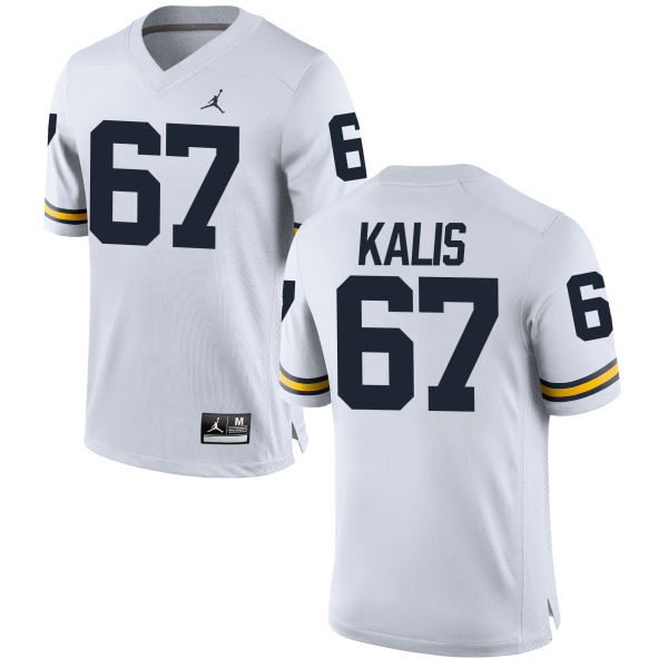 Men's Kyle Kalis Michigan Wolverines Game White Brand Jordan Football Jersey