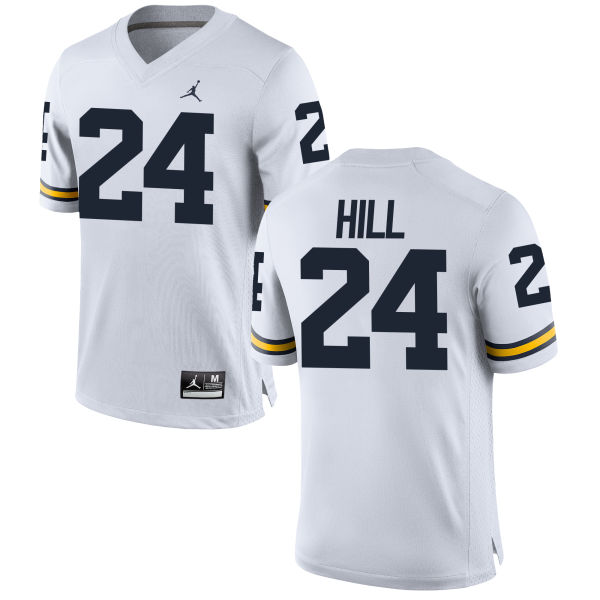 Men's Lavert Hill Michigan Wolverines Replica White Brand Jordan Football Jersey