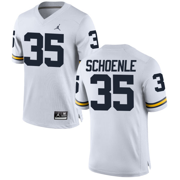 Men's Nate Schoenle Michigan Wolverines Replica White Brand Jordan Football Jersey