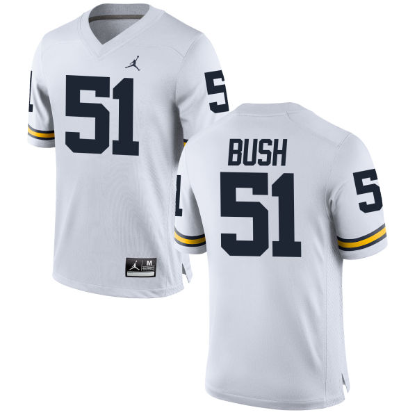 Men's Peter Bush Michigan Wolverines Replica White Brand Jordan Football Jersey