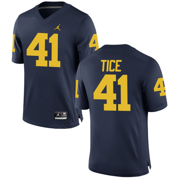 Men's Ryan Tice Michigan Wolverines Limited Navy Brand Jordan Football Jersey