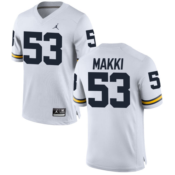 Men's Salim Makki Michigan Wolverines Replica White Brand Jordan Football Jersey