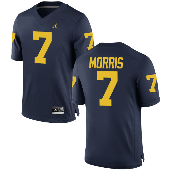 Men's Shane Morris Michigan Wolverines Game Navy Brand Jordan Football Jersey