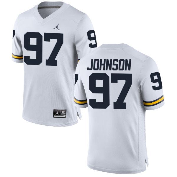Men's Shelton Johnson Michigan Wolverines Replica White Brand Jordan Football Jersey