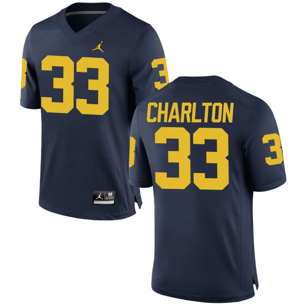 Men's Taco Charlton Michigan Wolverines Replica Navy Brand Jordan Football Jersey