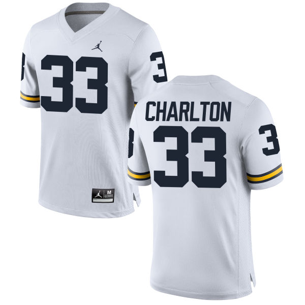 Women's Taco Charlton Michigan Wolverines Replica White Brand Jordan Football Jersey