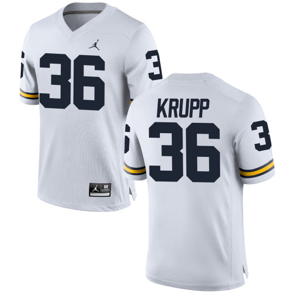 Men's Taylor Krupp Michigan Wolverines Replica White Brand Jordan Football Jersey