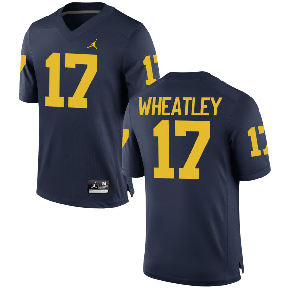 Men's Tyrone Wheatley Michigan Wolverines Replica Navy Brand Jordan Football Jersey