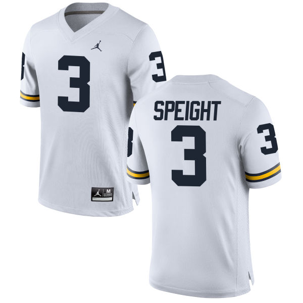 Men's Wilton Speight Michigan Wolverines Replica White Brand Jordan Football Jersey